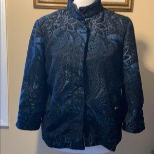 Chico's Brocade jacket, black/blue.